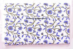 Indian-Cotton-Fabric-Dressmaking-Craft-Sewing-44-Inch-Block-Printed-By-2-5-Yard