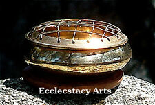 "Brass Censer for Resin-Charcoal-Incense Burner - Screen 3"" D Shiny NEW {:-)"
