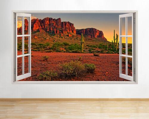 H381 DESERT CACTUS ROUGE montagnes fenêtre Applique Murale 3D Art Stickers Vinyl Chambre
