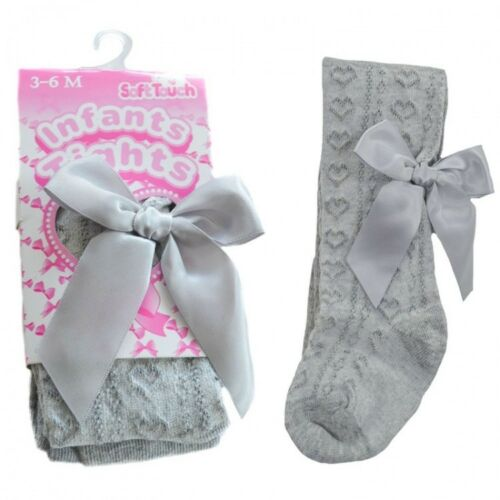 AW19 Baby Girls Jacquard Ribbon Bow Tights Newborn to 5 year RED WHITE PINK GREY