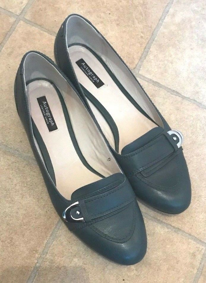 Ladies Marks & Spencer Autograph green leather leather lined shoes size 6