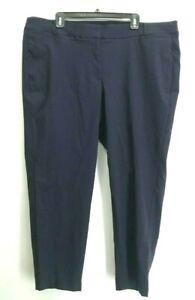 Lane-Bryant-The-Allie-Women-039-s-Size-24-Skinny-Navy-Blue-Cotton-Blend-Dress-Slacks