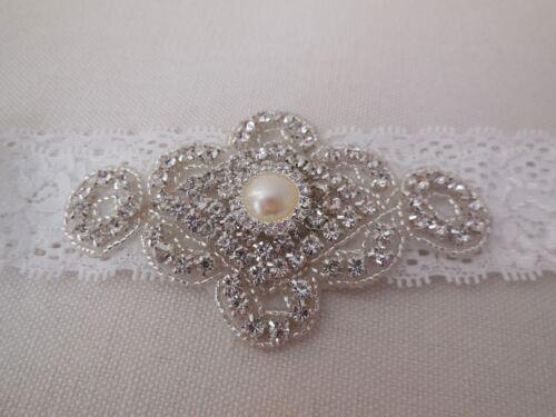 Bridal wedding rhinestones applique beaded rhinestones motif applique lace band
