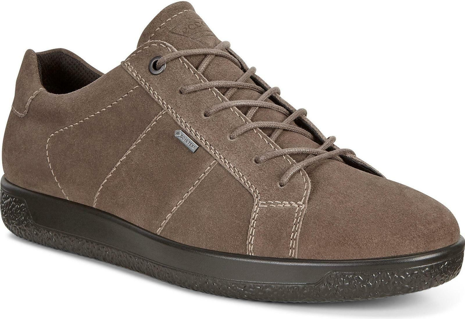 ECCO SOFT 1 Mens Durable Cow Suede Light Flexable Casual Trainers Dark Clay