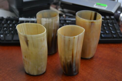 """4 CUPS GRAYISH HONEY BUFFALO HORN GAME OF THRONE MEDIEVAL DRINKING 5/"""" #T-2432"""