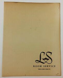 Vintage The Lord Simcoe Room Service Menu Ontario Canada