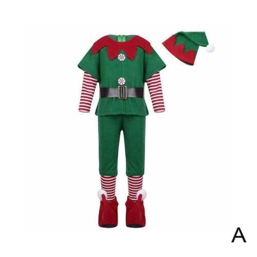 Kids Adult Christmas Elf Fancy Dress Costume Xmas Cosplay Costumes Perform B8C2