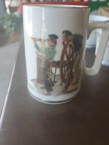 "Vintage 1985 Norman Rockwell Museum Tankard/Mug ""River Pilot"" with Gold Trim"