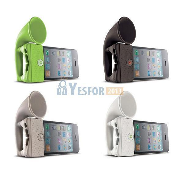 Cute Silicone Horn Stand Speaker Loudspeaker Amplifier for Apple iPhone 4 4G New