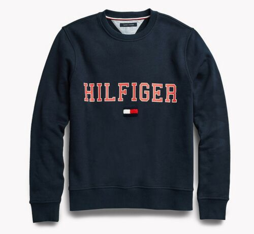 Tommy Hilfiger Men/'s Navy Blazer Collegiate Logo Fleece Pullover Sweatshirt