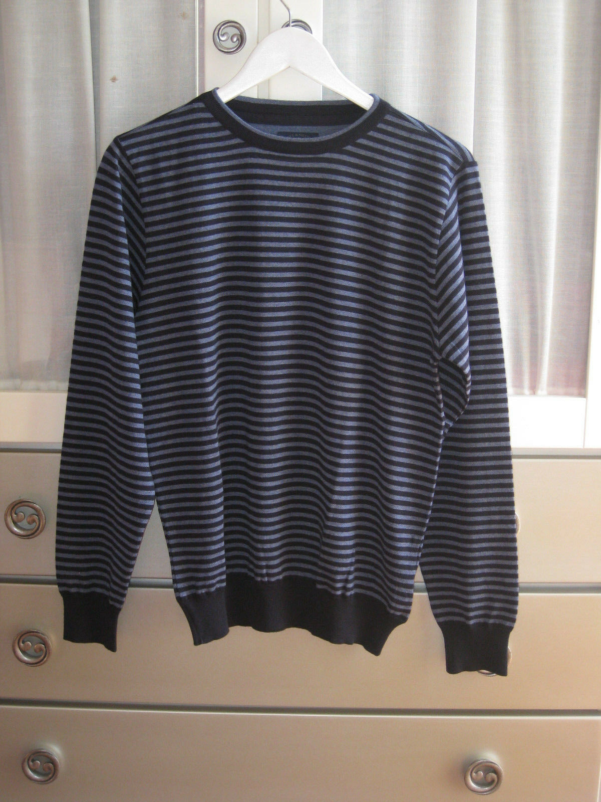 Designer Hand Knitted Lana non Mohair EXTRAVAGANTZA Sweater blu Ribbed Pullover EXTRAVAGANTZA Mohair 6bdeb0