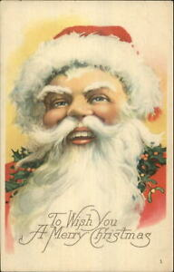 Christmas-Santa-Claus-Closeup-of-Face-Karle-Quality-c1915-Postcard