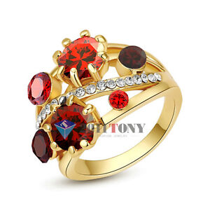 Simulated-Ruby-Cocktail-Rings-18K-Yellow-Gold-Plated-Crystal-Women-Jewellery