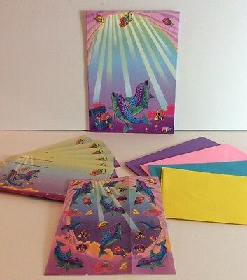 Lisa Frank Vtg Dolphin All In One Stationery Pack Paper Stickers Envelopes Ocean