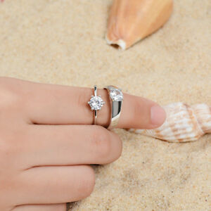 Silver-Plated-Real-Love-Couples-Heart-Promise-Ring-Engagement-Wedding-Band