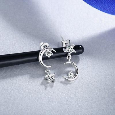 Asymmetric Gold Plated Crystal Moon Star Dangle Tassel Earring Wedding Jewelry