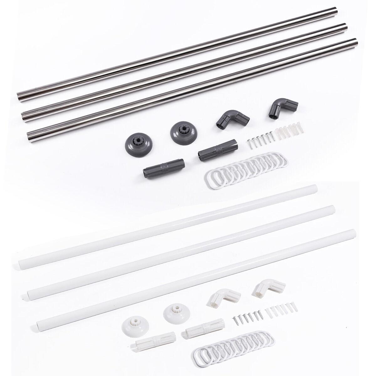 Stainless Steel Adjustable U L Shape Corner Shower Curtain Rod Pole Rail Track