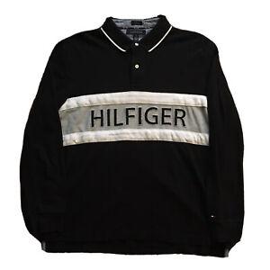 VTG-90s-Tommy-Hilfiger-Shirt-Long-Sleeve-Mens-XL-Spell-Out-Streetwear-Black-OG