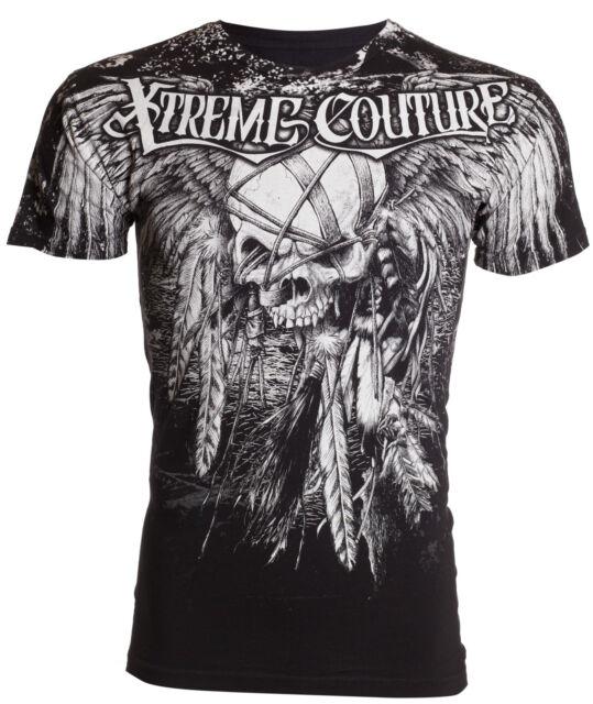 Xtreme Couture AFFLICTION Men T-Shirt JUSTICE Skull Tattoo Biker Gym MMA UFC $40