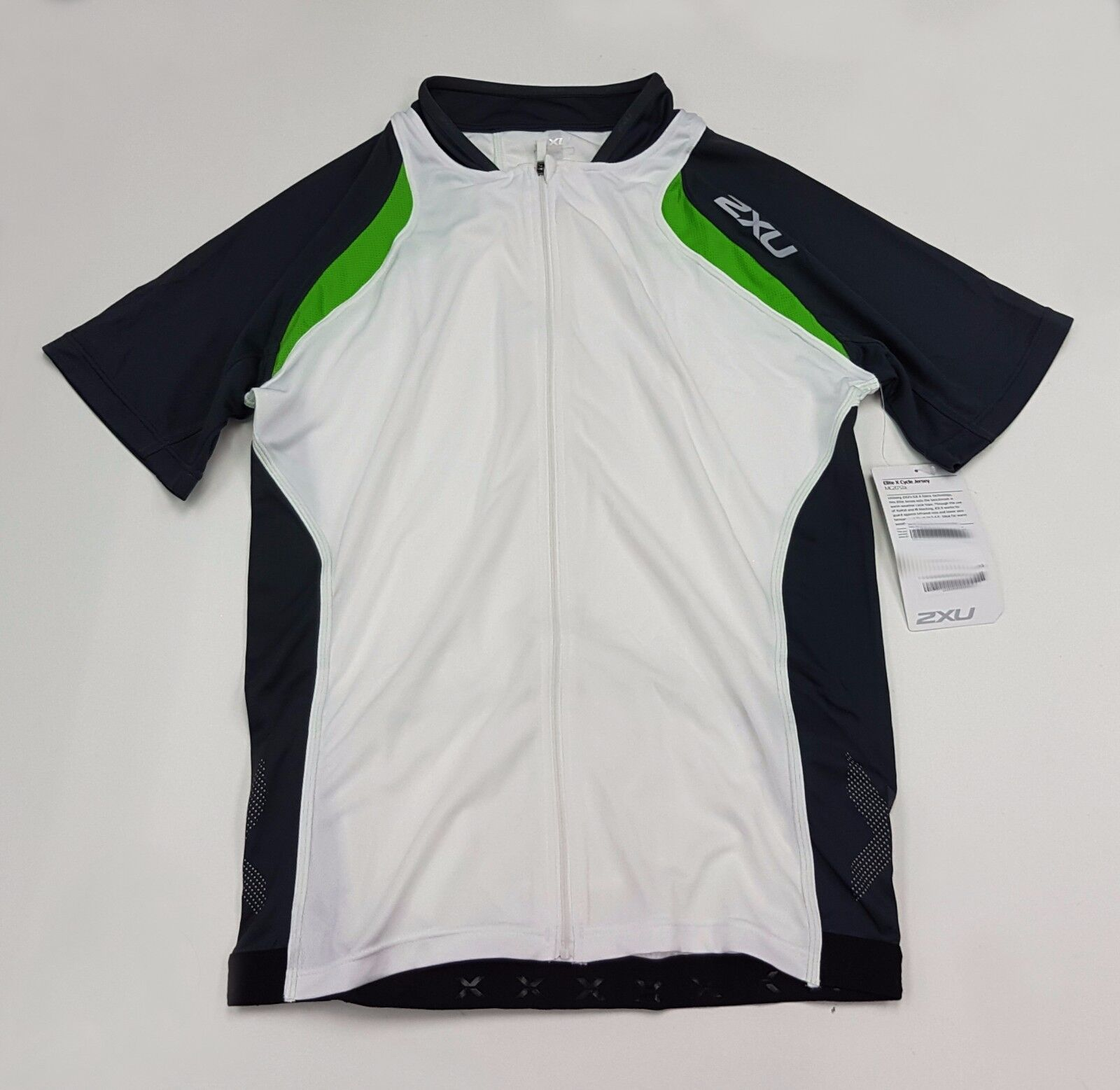 2XU Elite Cycle Men's Cycling Jersey MC2012a White Green  Small  limited edition
