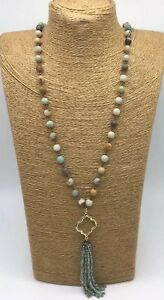 Fashion-amazonite-Stones-Beads-Rosary-Chain-Crystal-Tassel-Necklace-woman-gift