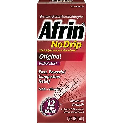 Afrin Nodrip Original Nasal Spray, 0.5 Oz Each