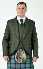 Green Tweed Argyll Kilt Jacket & Vest Waistcoat 100% Wool Made to Order