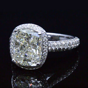 3.34 Ct Cushion Cut Diamond Halo Engagement Ring Micro ...