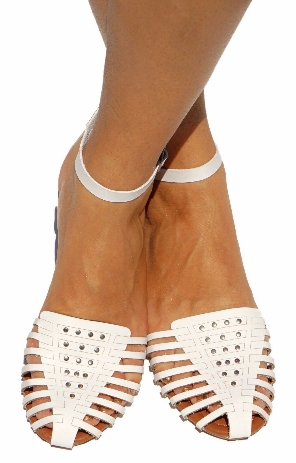 Women Sandals Gladiator Flat Ankle T-Strap Mary Jane Flat Gladiator Shoes Ballet Caged Studded eda663