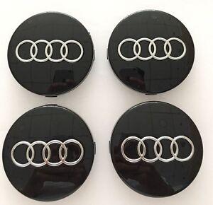 4x-Negro-Audi-Aleacion-Centro-De-Rueda-Caps-60MM-Ajuste-A1-A2-A3-A4-A5-A6-TT-RS-Q3-Q7