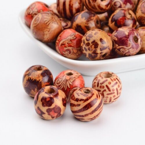 50Pcs Round Printed Wood Beads Spacer Beads for DIY Macrame Rosary Jewelry