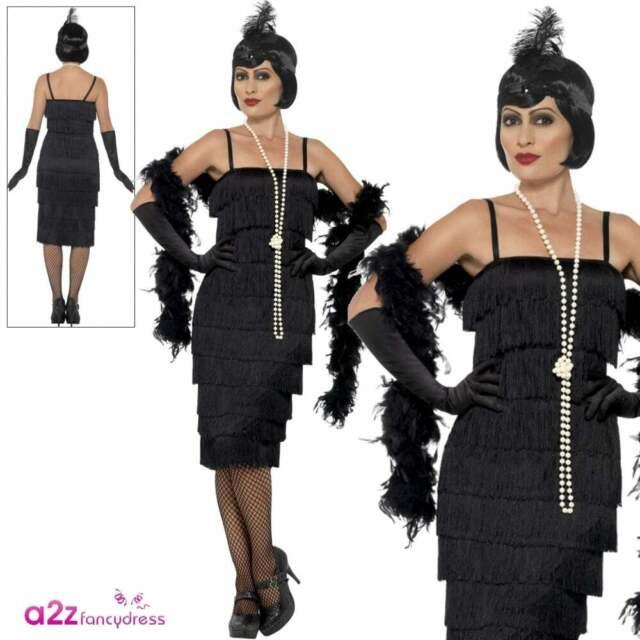 Ladies 1920s Flapper Costume Adult Charleston Gatsby Fancy Dress Womens Black