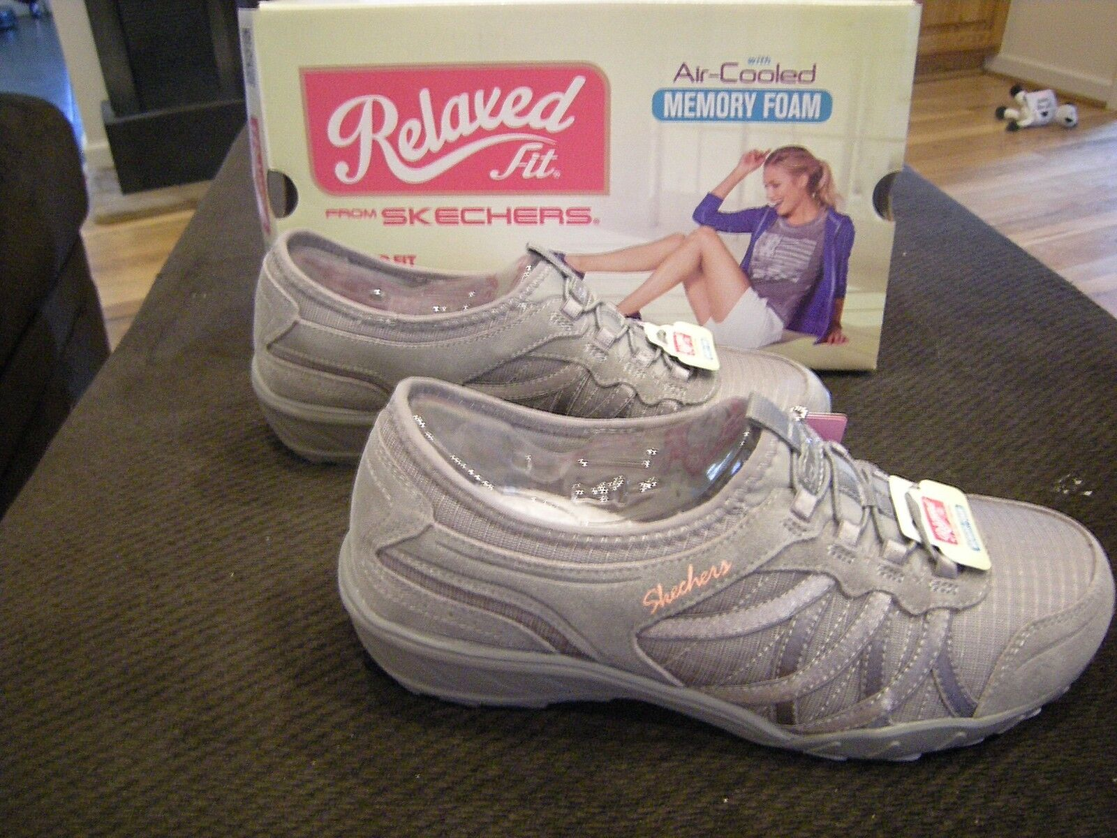New Womens Gray Skechers Baroness Tennis Shoes, Size 8