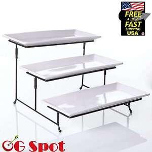 Image is loading Server-Tray-Set-3-Tier-Stand-Plate-Rack-  sc 1 st  eBay & Server Tray Set 3 Tier Stand Plate Rack Fruit Cupcake Dessert Buffet ...