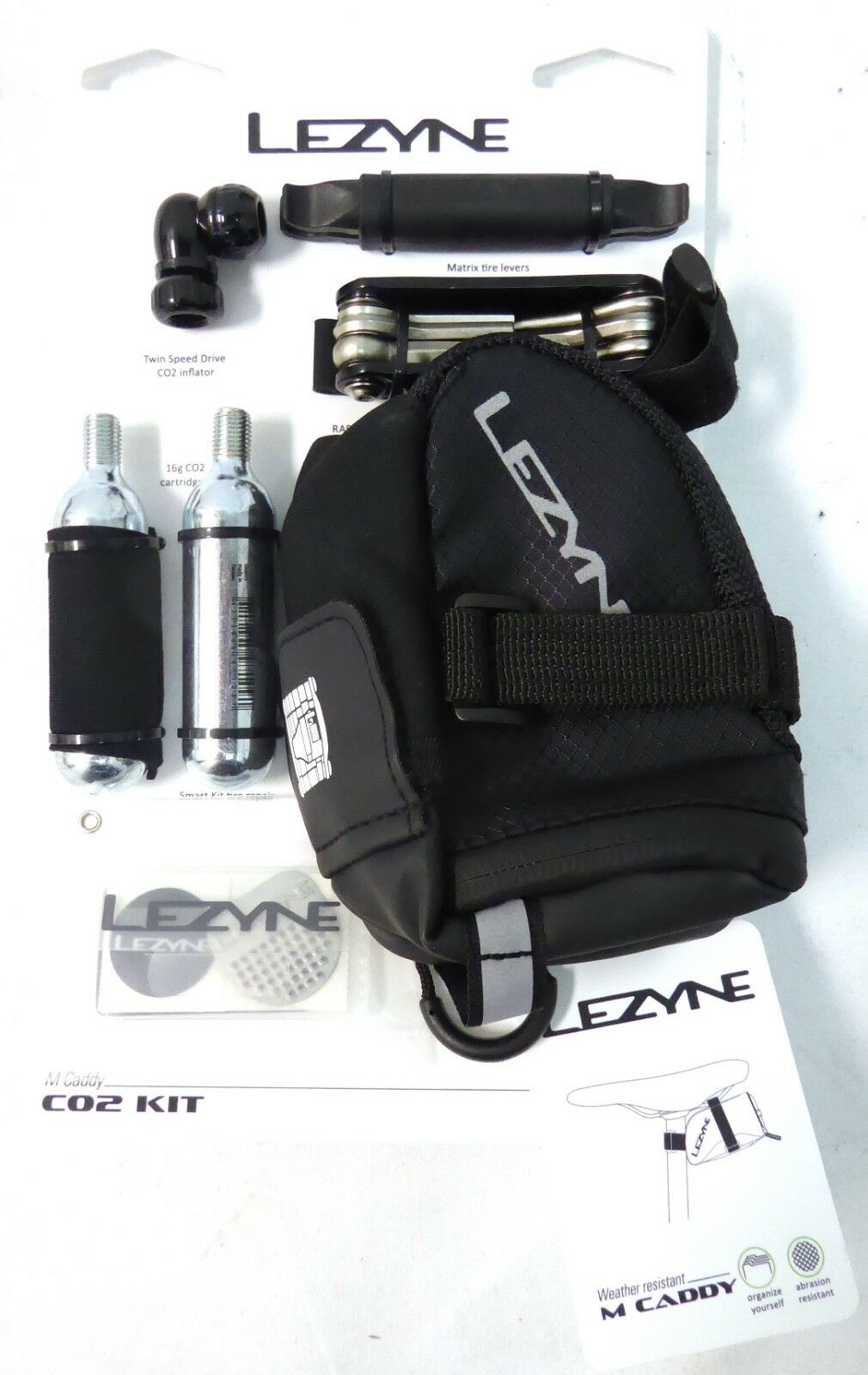 Lezyne M Caddy Seat Bag with CO2, Tools, Patch Kit