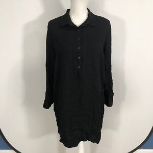 Old-Navy-Women-Long-Sleeve-Button-Front-Dress-Size-XL-Black-100-Rayon-C138