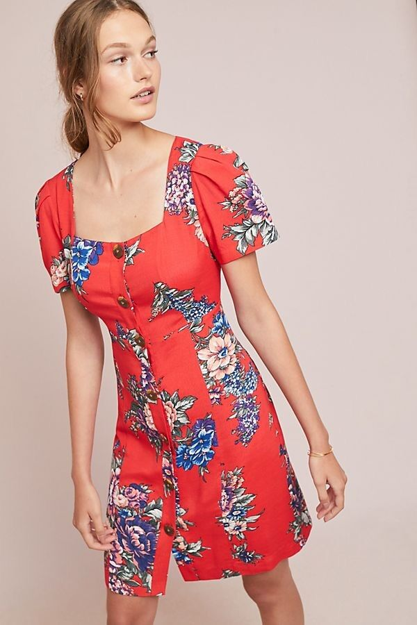 NWT Maeve Anthropologie Caldwell Caldwell Caldwell Red Floral Buttondown Dress Size 2  148 acc37c