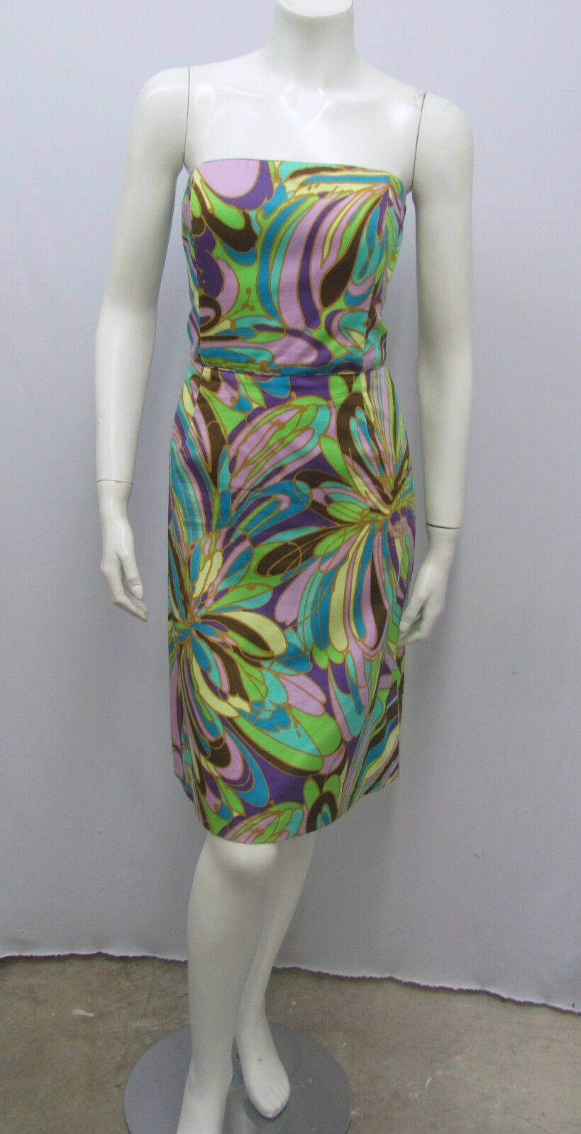 MILLY DRESS STRAPLESS ABSTRACT MOD FLORAL PRINT MULTI COLOR 100% COTTON SIZE 8