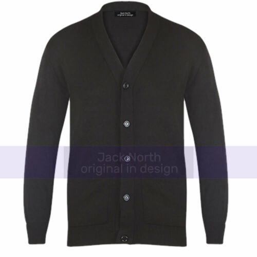 Mens Plain Knitted V Neck Buttoned Cardigan Fine Cotton Knitwear Casual Smart
