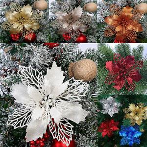 10X Christmas Large Poinsettia Glitter Flower Tree Hanging Party Xmas Decor I UK
