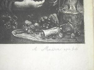 ARTE-PITTURA-RIBOT-MASSON-BELLISSIMA-ANTICA-ACQUAFORTE-RARITA-039-SU-PERGAMENA-039-800
