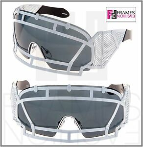 a73e4ecadfe7 KTZ x Linda Farrow Football Helmet Sunglasses Black White Mirrored ...