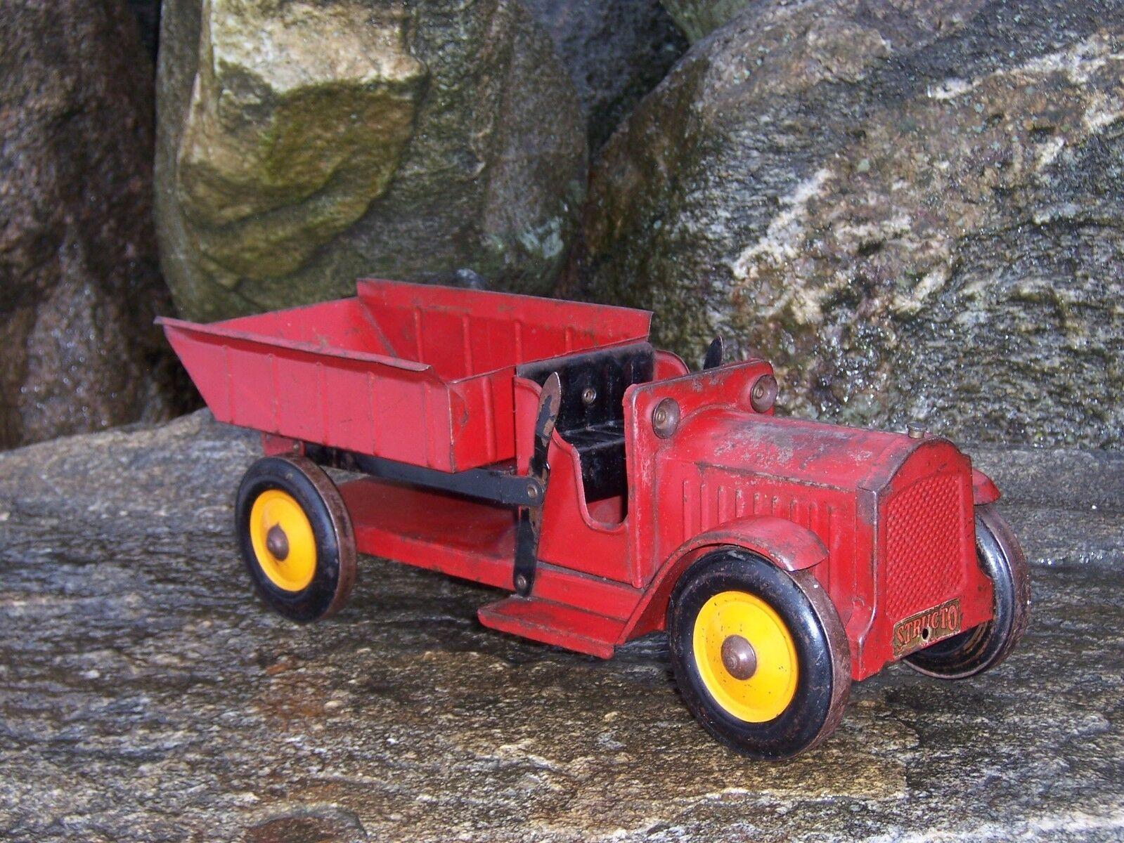 Structo 1920's Dump Truck Pintura Original De Colección  Antiguo Acero Estampado
