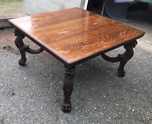 Details About 54 Carved Griffin Square Oak Dining Table 2 Leaves Attr R J Horner