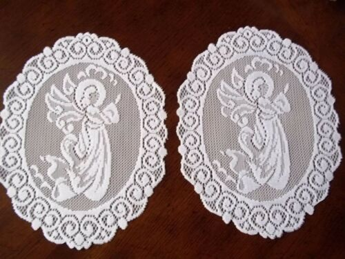 LACE DOILY WHITE SET OF 2 DOILY WALL HANGING ANGEL HOLIDAY OVAL 9 X 7 WDWH543