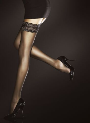 Black Natural Romina stay up stockings by Fiore with gold lace top hold ups