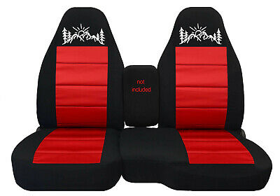 Fits 1991-2012 Ford ranger//truck car seat covers 60-40 blk-red w//mountain design