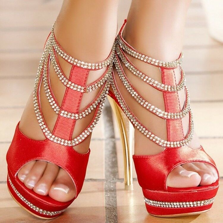 Womens 14cm High Heels Stilettos shoes Rhinestone Peep Toe T-strap Fashion E202