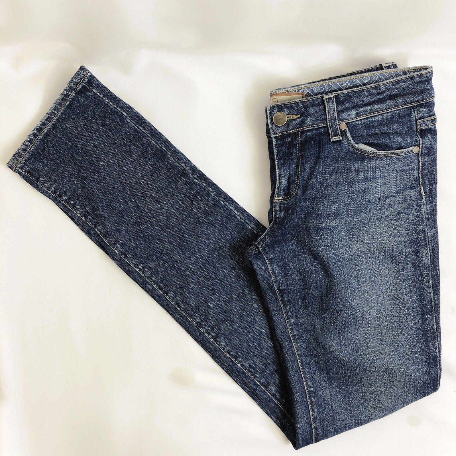 Paige Premium Denim Women 27 bluee Straight Skinny Leg Jeans Pants FITS 28