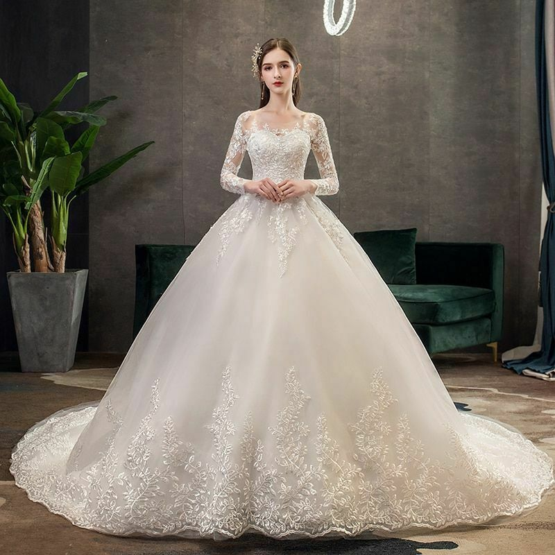 Ball Gown For Wedding Embroidery Lace Brush Train Dress Luxury Women's Clothing